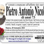 Pietro Antonio Nicoletti     di anni 73