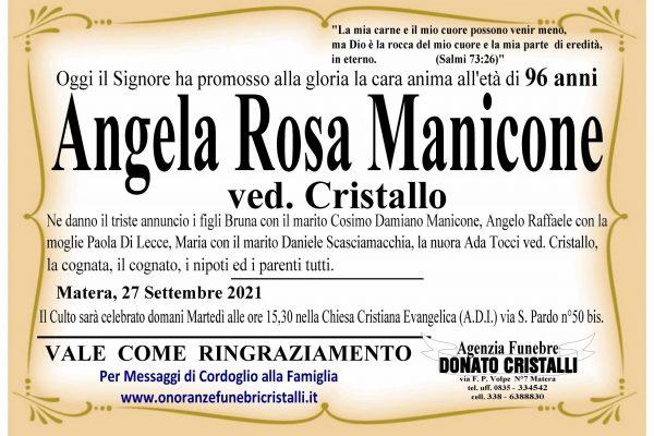 Angela Rosa Manicone  ved. Cristallo    di anni 96